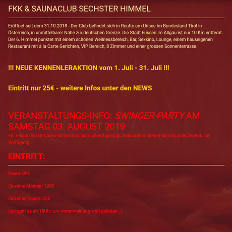 Swinger Party ||| Juli-Aktion im Sauna / FKK Club FKK 6. Himmel Reutte (A) in Reutte (Tirol)