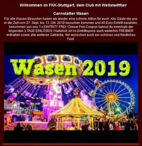 Cannstatter Wasen im Sauna / FKK Club FKK Phönix Stuttgart (D) in Stuttgart