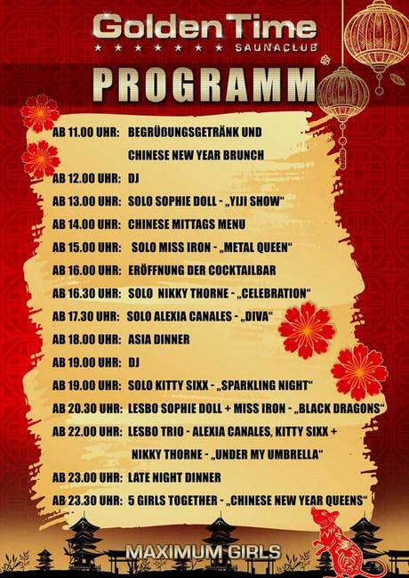 Chinese New Year im Sauna / FKK Club Golden Time Brüggen (D) in Brüggen