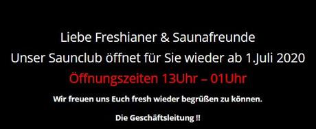 Wiedereröffnung  im Sauna / FKK Club Fresh Wien (A) in Wien