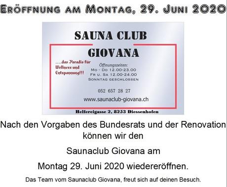 Wiedereröffnung  im Sauna / FKK Club Giovana Diessenhofen (CH) in Diessenhofen