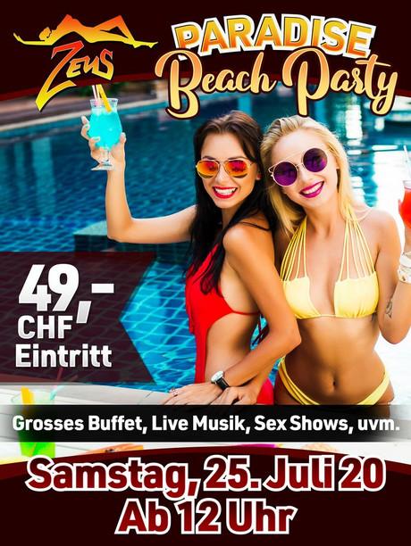 Paradise Beach Party im Sauna / FKK Club FKK Zeus Küssnacht (CH)  in Küssnacht am Rigi SZ