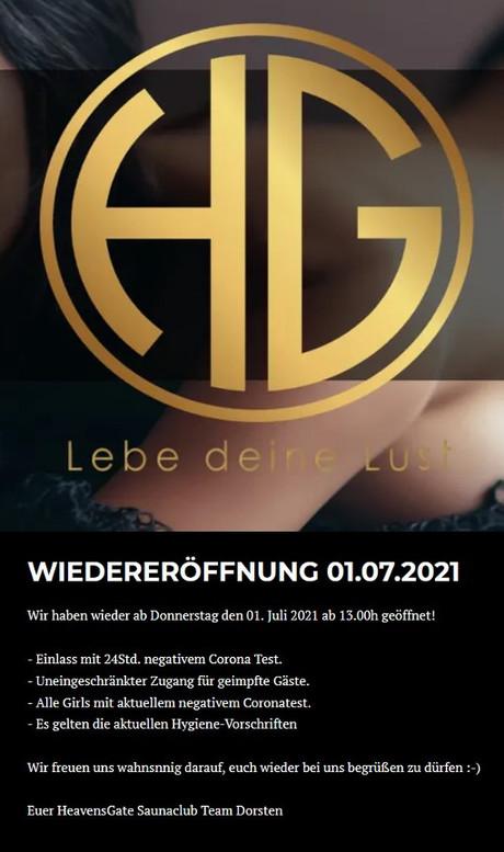 Wiedereröffnung  im Sauna / FKK Club Heavensgate Dorsten (D) in Dorsten-Wulfen