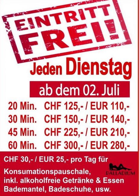 Free Entry im Sauna / FKK Club Palladium Au (CH) in Au