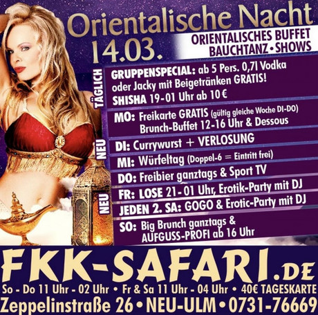 Hähnchenschnitzel mit Pommes im Sauna / FKK Club FKK Safari Neu-Ulm (D) in Neu-Ulm