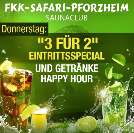 3 for 2 im Sauna / FKK Club FKK Safari Pforzheim (D) in Pforzheim