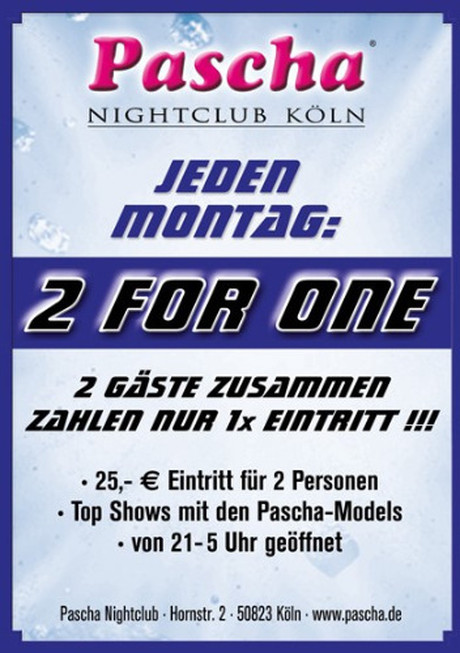 2 for 1 im Sauna / FKK Club Pascha Nightclub Köln (D) in Köln