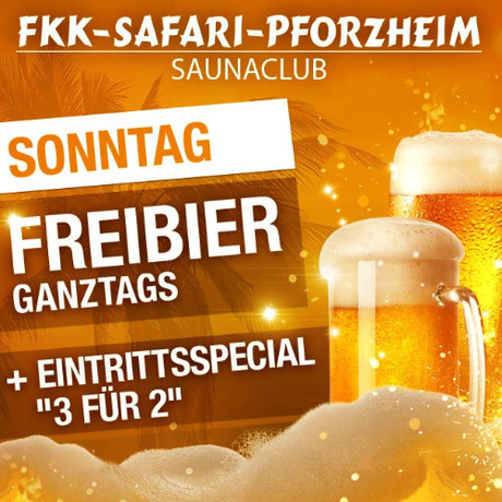 Freibier & 3 for 2 im Sauna / FKK Club FKK Safari Pforzheim (D) in Pforzheim